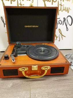Musitrend Turntable Player Bluetooth Oak portable with built