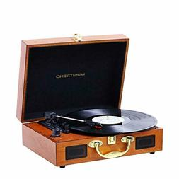 Musitrend Turntable Portable Suitcase Record Player Built-in