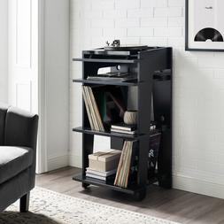 Turntable Stand Table Audio Rack Media Wood Console Vinyl Re
