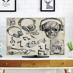 LCD TV dust Cover,Music Decor,Sketchy Music Background Hipst