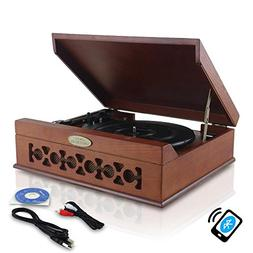 Updated Version Pyle Bluetooth Retro Turntable With Speakers