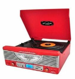 Vintage Stereo Turntable Red AM FM Radio Vinyl To MP3 SD Car