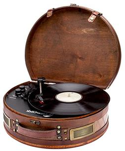 ClearClick Vintage Suitcase Turntable with Bluetooth & USB -