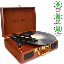 Vinyl/LP Turntable Record Player with Natural Wooden Suitcas