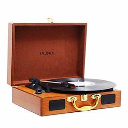 Vinyl Record Player 3 Speed Suitcase Turntable with Speakers