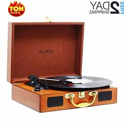 Vinyl Record Player, 3 Speed Suitcase Turntable with Speaker