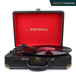 Vinyl Record Player,GOODNEW Portable Turntable with Built in