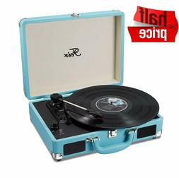 Vinyl Stereo Blue Record Player 3 Speed Portable Turntable S