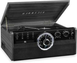 Victrola VTA-270B-GRY 6-in-1 Wood Bluetooth Mid Century Reco