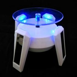 White Rotating Display Stand Turntable Rotary LED Light Sola