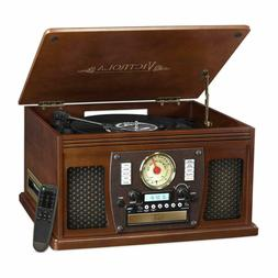 Wood 8-in-1 Nostalgic Bluetooth Record Player with USB Encod